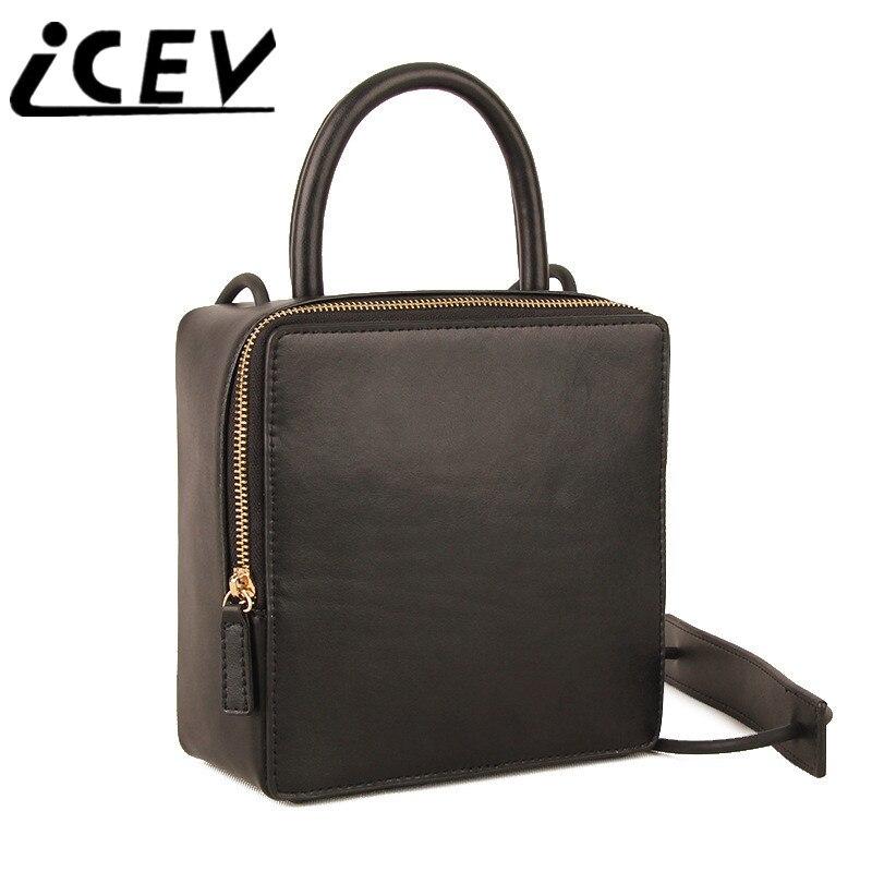 ICEV nouvelle mode japon et corée rabat peau de vache en cuir véritable sacs à main sacs à main femmes marques célèbres femmes Messenger Sac Sac