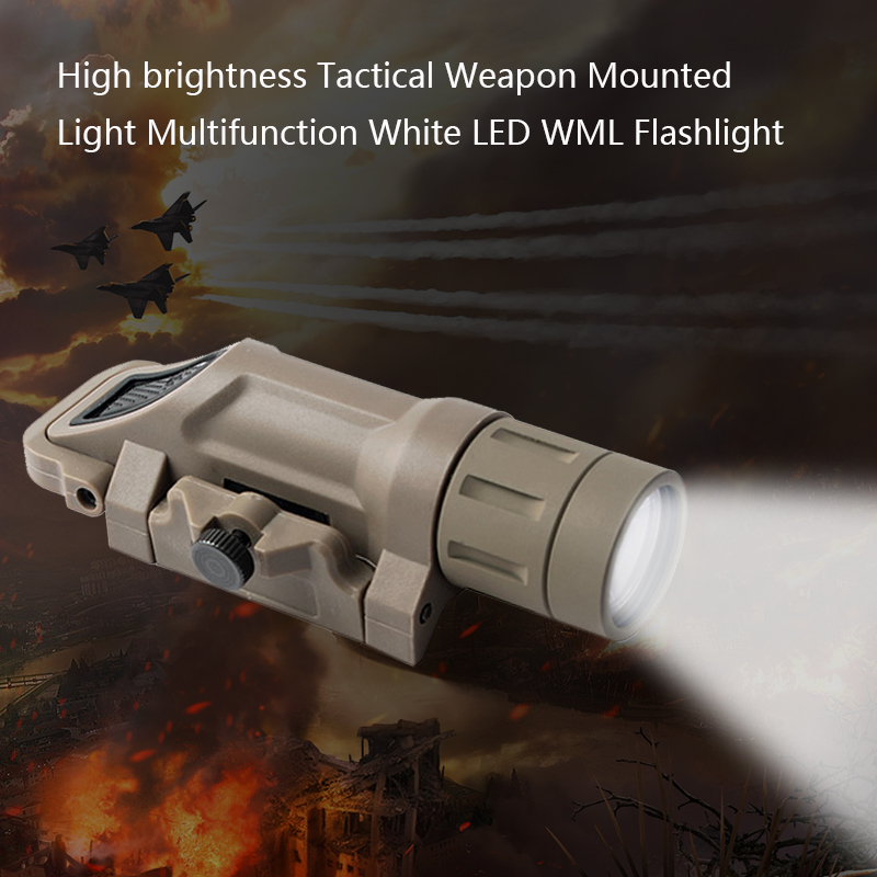 Tactical Flashlight White LED WML Weapon Light Picatinny Pistol Handgun Torch for Hunting