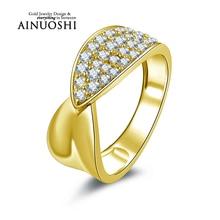 Ainuoshi 10 k sólido oro amarillo anillo de bodas mujeres sona nscd diamante simulado joyería femme bijoux moda diseño anillo de compromiso