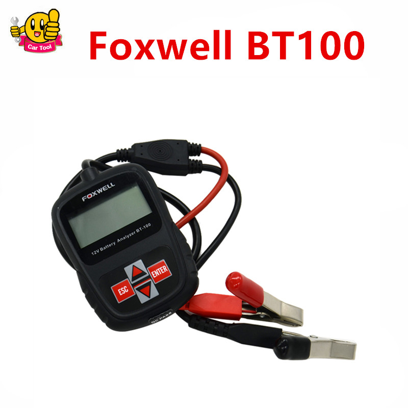 ФОТО BT100 FOXWELL BT100 Auto Car 12 Volt Battery Analyzer Diagnostic Tool BT 100 Tester with Test Cable