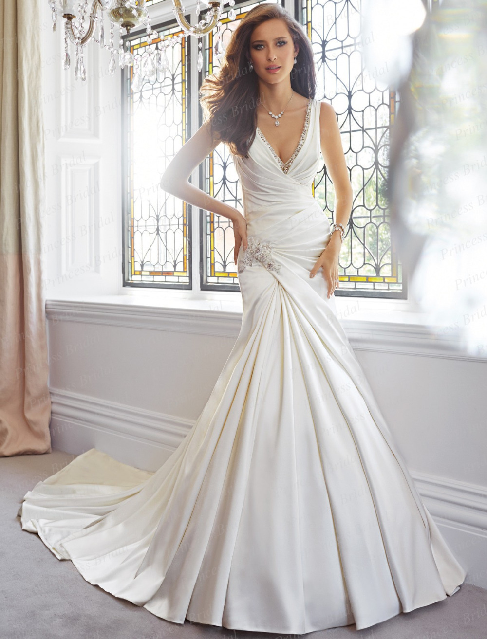 free shipping discount online sexy simple design trumpet v neck sweep train mermaid satin wedding dress