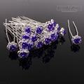 60PCS Wedding Accessories Bridal DK Purple Rose Hairpins Flower Crystal Rhinestone Hair Pins Clips Bridesmaid Women Hair Jewelry