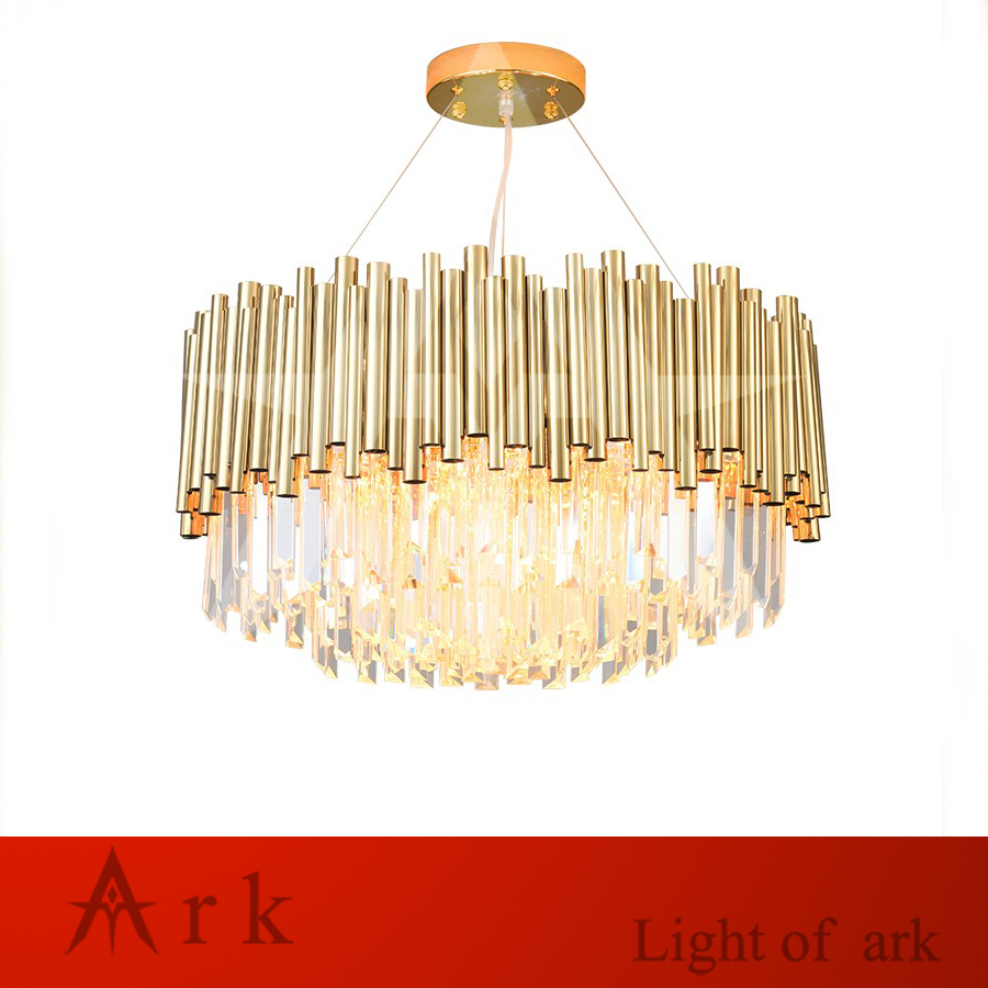 postmodern Crystal Luxury Gold stainless steel living room Dining Room Round Hanging Fixtures led pendant lights