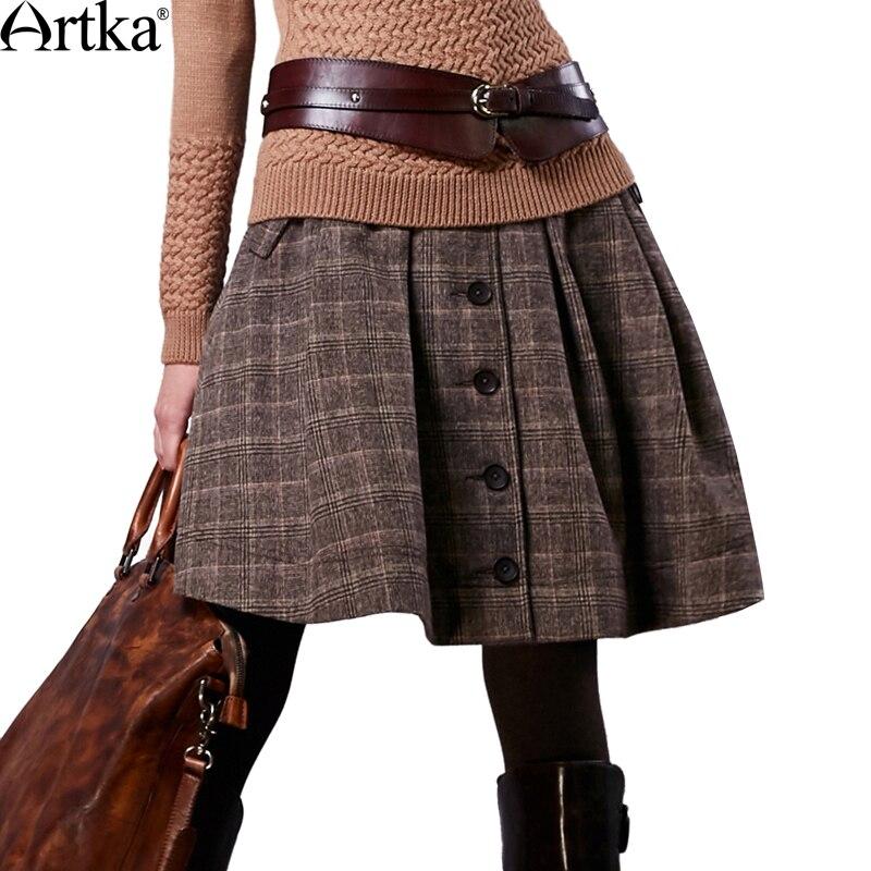 Artka Осенняя юбка для Для женщин 2018 зима Для женщин Шерсть юбки Lolita Короткая юбка для девочек Винтаж клетчатая юбка мини Saia QA10058Q