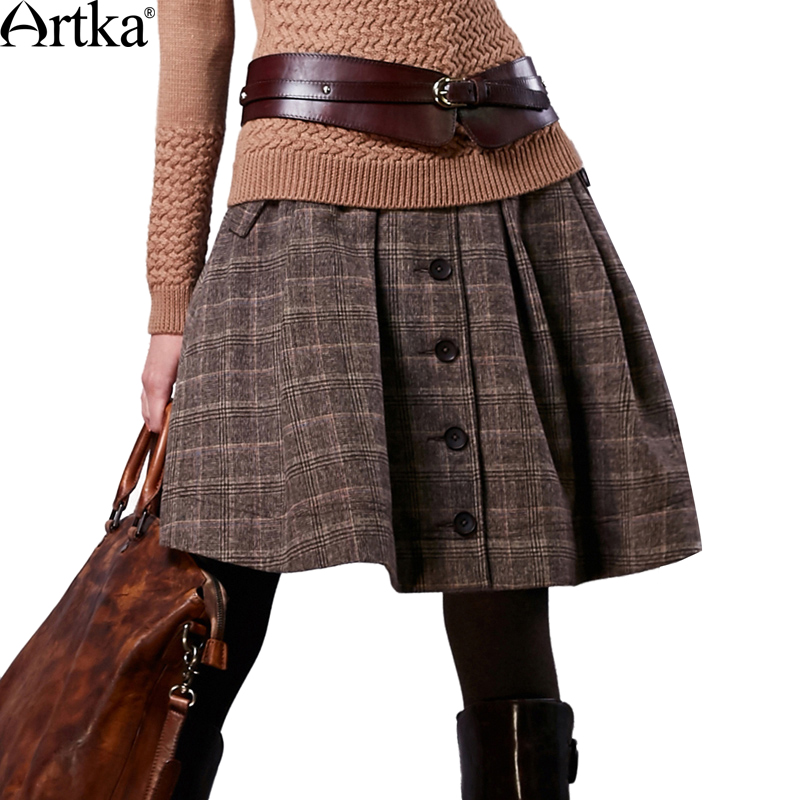 Artka Autumn Skirt For Women 2018 Winter Women's Wool Skirt Lolita Short Skirt For Girls Vintage Plaid Skirt Mini Saia QA10058Q dabuwawa autumn women fashion sexy plaid skirt elegant mini pleated skirt short streetwear asymmetrical skirt d17csk031 page 2