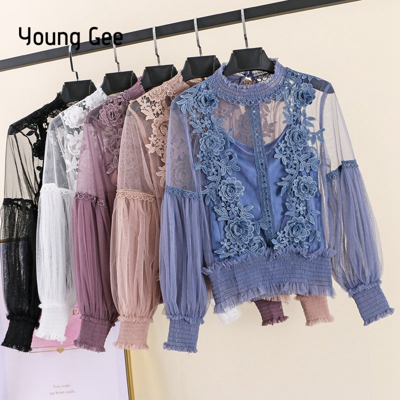 737b5743176b5 Young Gee 2019 Spring Autumn Women Tops Fashion Sexy Sheer Lace Blouse  Lantern Sleeve Floral Shirt Elegant Top blusas femininas
