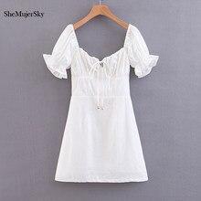 SheMujerSky-vestido corto Vintage de verano con cuello en V, minivestido con cordones para mujer, 2019