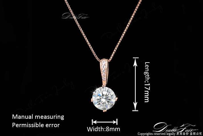 ダブルフェア OL スタイルキュービックジルコニアチェーンネックレス & ペンダントローズゴールドカラーファッションクリスタル結婚式の宝石 DFN426