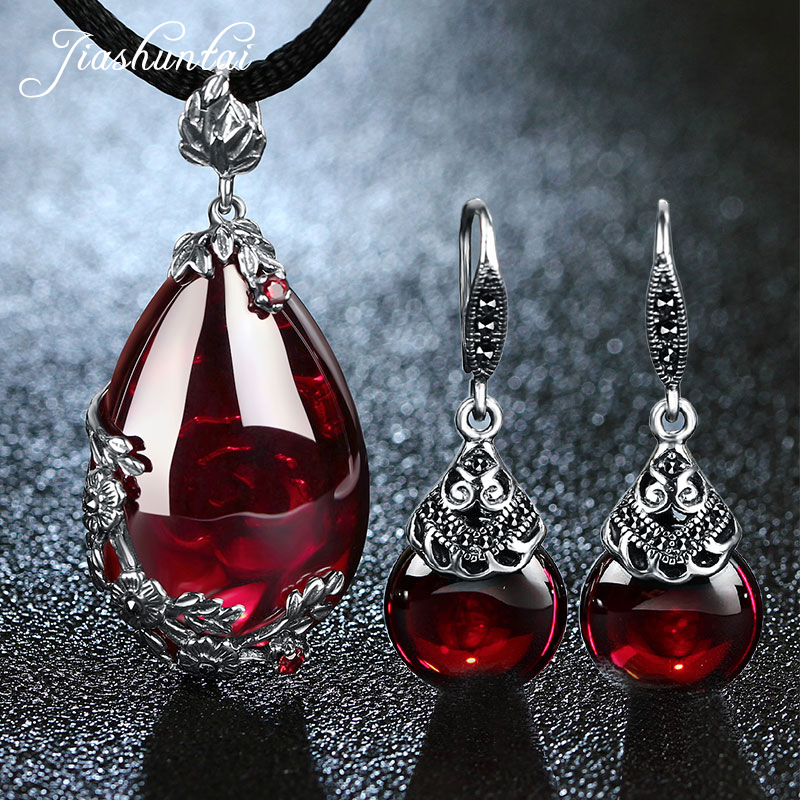 JIASHUNTAI Retro 100 925 Sterling Silver Jewelry Sets Vintage Pendant Necklac Drop Earrings For Women Natural