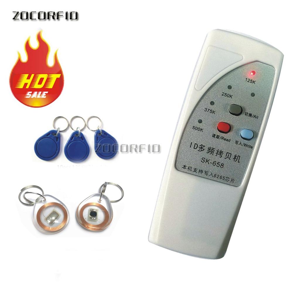 4 tipi di frequenza RFID Copier/Duplicatore/Cloner ID EM reader e writer + 10 pz riscrivibile portachiavi