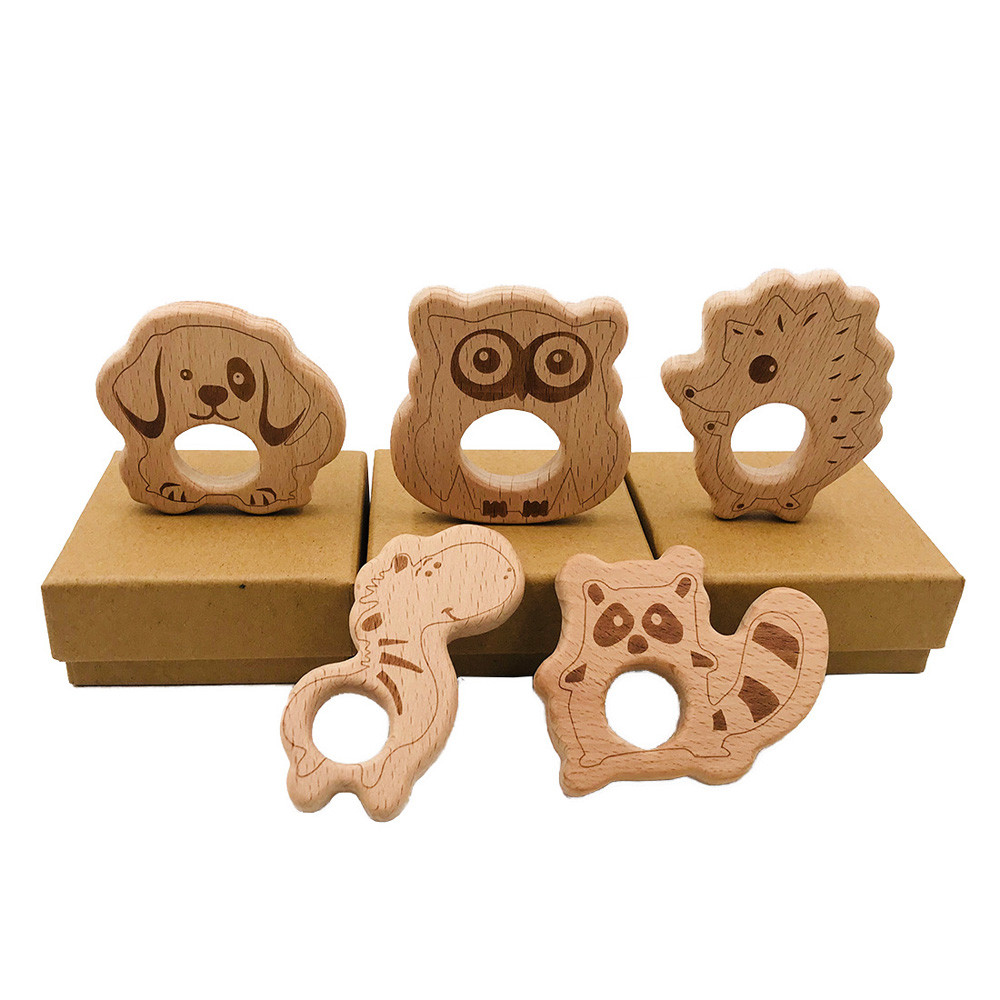 Natural Beech Wood Teething Beads DIY Baby Chewy Pendant Necklace Jewelry Making