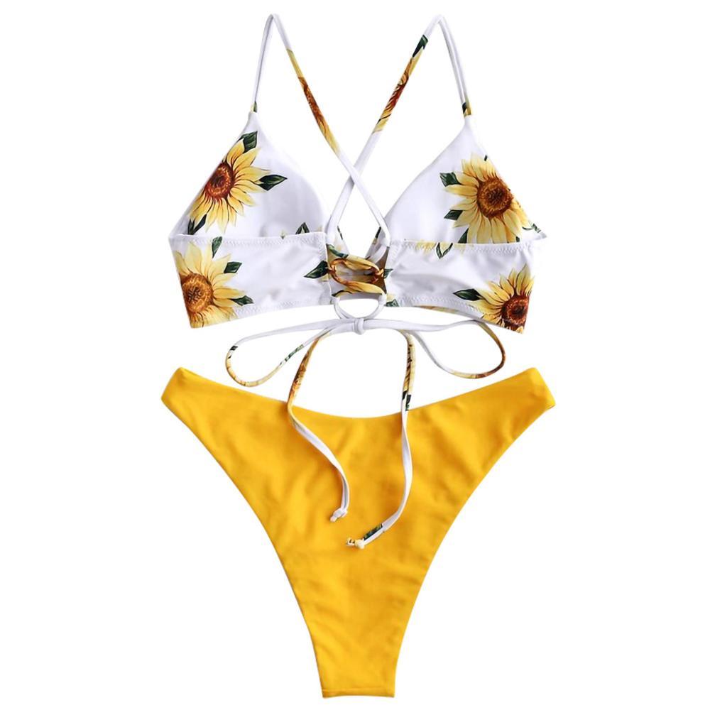 2019 Women Intimates   Bra     Set   Underwear Bikini Beach wear Push-up Padded   Bra   Swimsuit Bathing Sexy sunflower   bra     Set   #HFR52