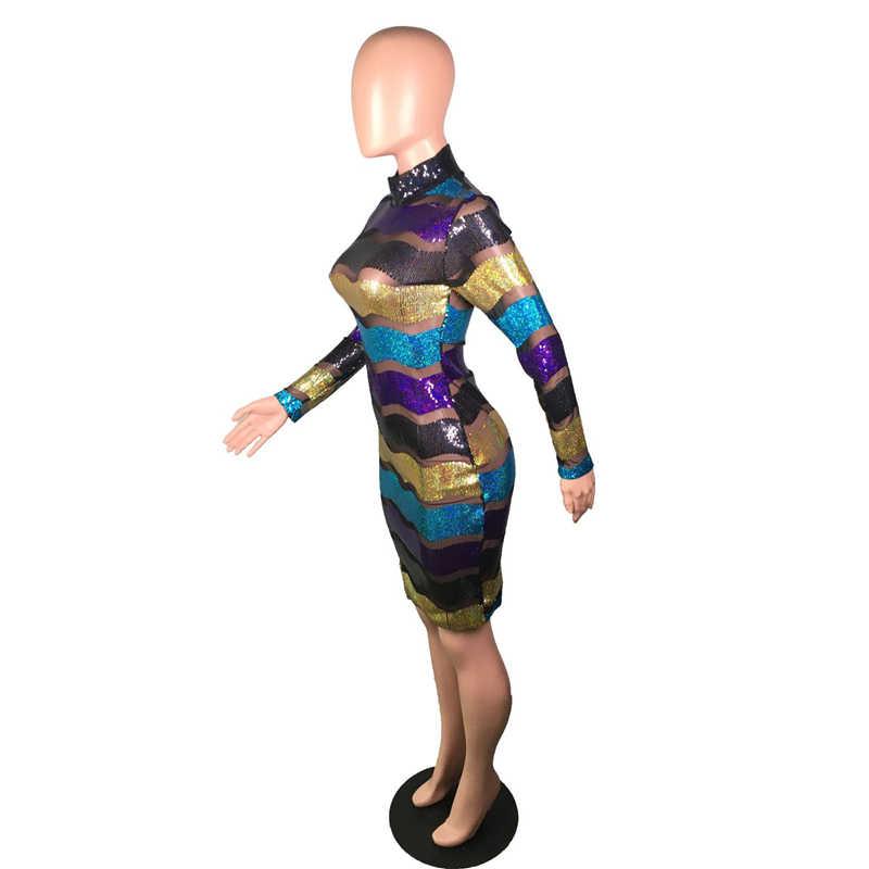 Adogirl Sheer Mesh Patchwork Streep Pailletten Jurk Lange Mouwen Schede Bodycon Mini Party Dress Sexy Night Club Kostuums Vestidos