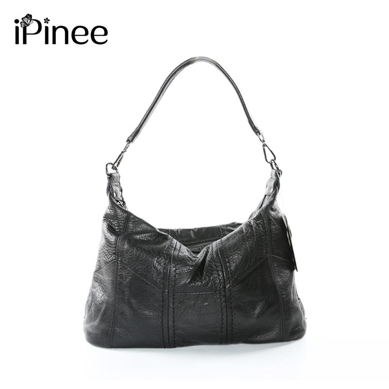 iPinee New Genuine Leather Bag Ladies Cowhide Large Capacity Shoulder Bag Sac A Main Famous Design Lady Black Crossbody Bag