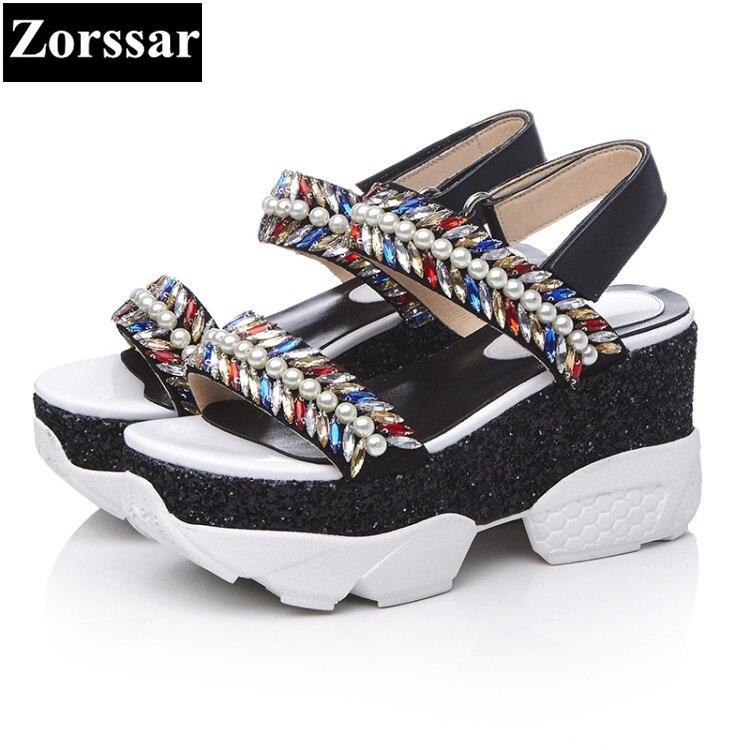 Summer font b Women b font sandals platform High heels rhinestone fashion leisure Woman creeper font