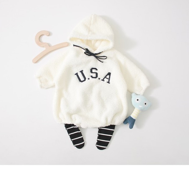 korean Baby   Rompers   Winter Baby Clothing for Newborns Fleece Costume Baby velvet hood Overalls Jumpsuits Boy Girl Clothes