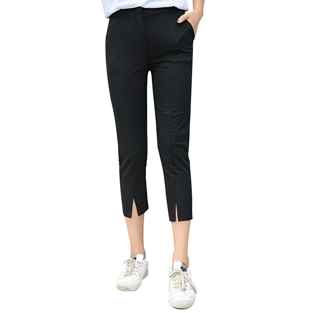 Female Big Size 2018 Linen Comfortable   Pants   Summer Women Calf Length Cotton   Pants   Black Casual Mid Waist   Pants     Capris   Trousers