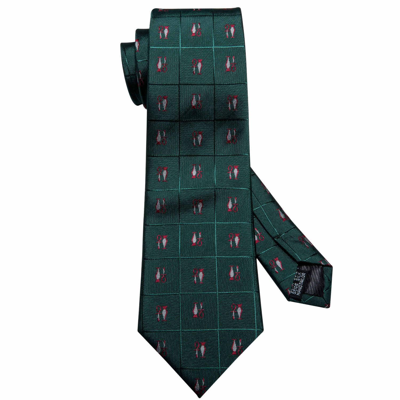 Hommes vert cravates soie Plaid cravate mouchoir boutons de manchette ensemble nouveauté cravate Designer cou cravate formelle pour costume Barry. Wang FA-5170