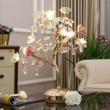 Керамический розовый цветок дерево металлическая настольная лампа переключатель K9 с украшением в виде кристаллов лампа E14 база прикроватный ночник Дом Декорация Luminaria
