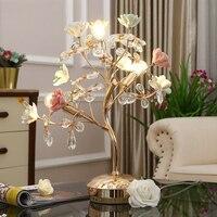 Керамический розовый цветок дерева металлическая настольная лампа переключатель K9 кристалл лампы E14 базы прикроватная ночник дома Decororation