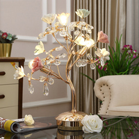 Ceramic Rose Flower Tree Metal Table Lamp Button Switch K9 Crystal Lamp E14 Base Bedside Night Light Home Decororation Luminaria