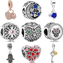 Enamel Crystal Girl Santa Claus Owl Moon Star Love Heart Hamsa Hand Charms Beads Fit Pandora Bracelets for Women DIY Jewelry(China)