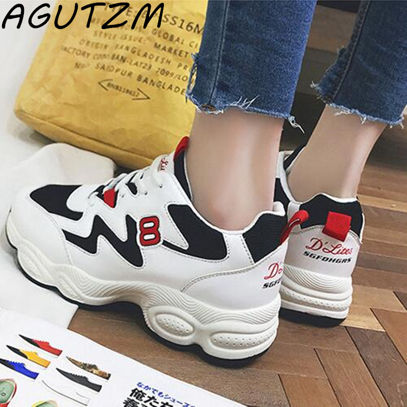 AGUTZM 2018 Spring Women Sneakers Ins Breathability Shoes For Women Fashion Lace-up Platform Shoes Mixed Colors Casual Shoes