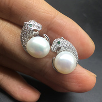 High Quality Leopard Head 925 Sterling Silver Real Fresh water Pearl Stud Earrings Brand Fashion Party Jewelry For Women