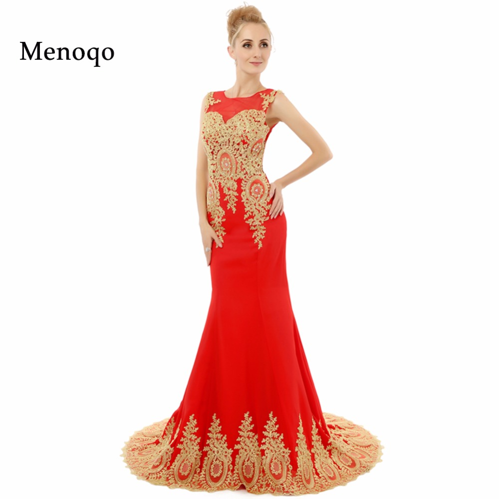 New Fashion Real Model Vestidos de festa Mermaid Red Chiffon Golden Appliques Sheer Back Sexy   Prom     Dresses   Fast Shipping