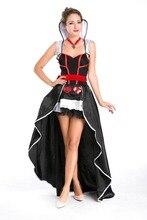 Ensen poker corazón rojo a cuadros señoras reina noche dress de halloween dress larga de alta calidad carnaval fantasia traje de cosplay de hadas