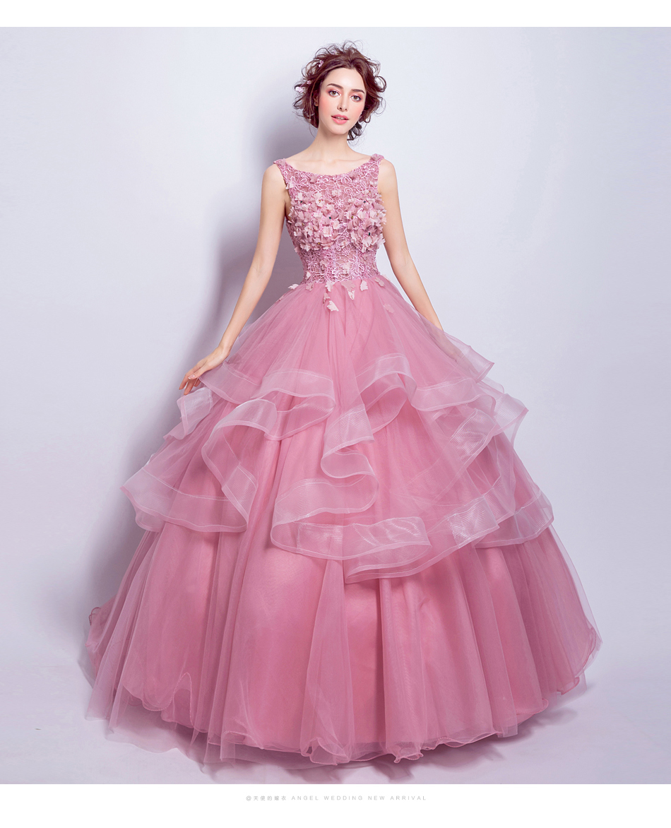Robe De Soiree The Prom O neck Ball Gown Sweet Floral Print Elegant ...
