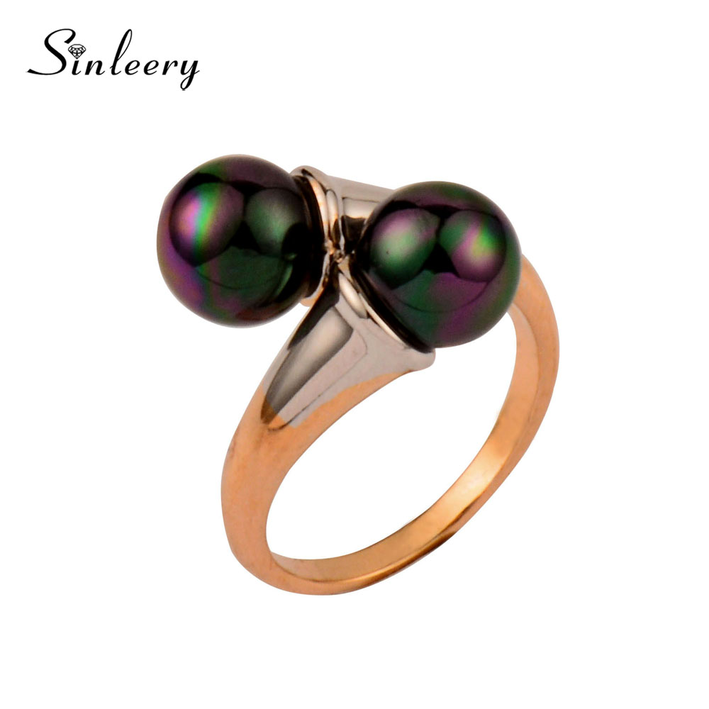 SINLEERY Vintage Double Black Simulated Pearl Rings For Women Rose Gold Color Engagement ...