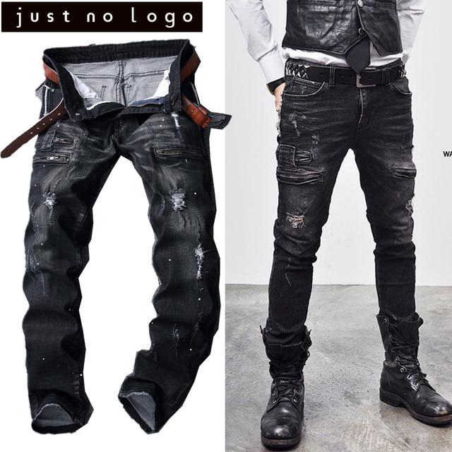b097c17e1cf6a Pas cher Homme Noir Glissière Latérale Biker Denim Détruits Jeans Slim  Skinny Droite Déchiré Distresded Punk