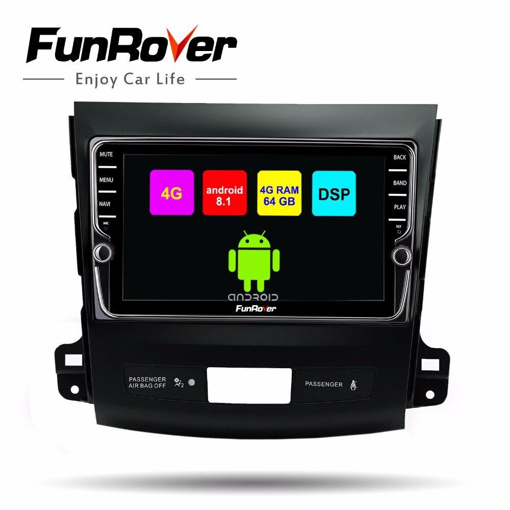 Funrover android 8.1 2din car multimedia dvd gps para Mitsubishi Outlander 2006-2014/Peugeot 4007/Citroen C -Crosser 8 núcleo estéreo