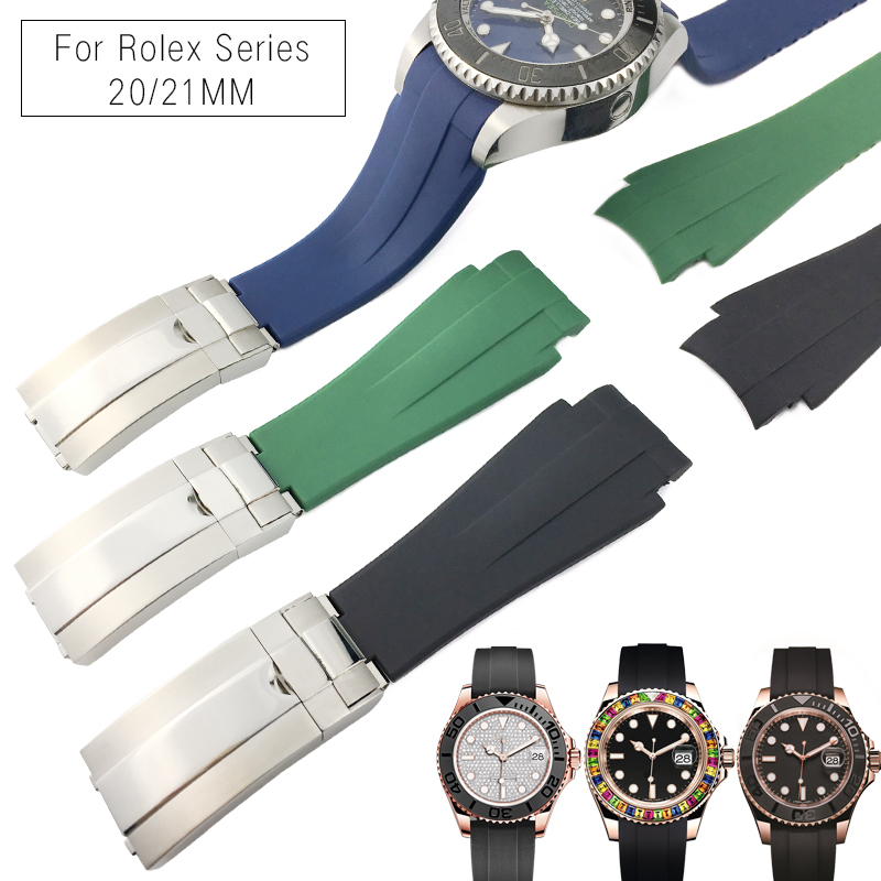 20mm 21mm Rubber Silicone Watch Strap Combination Buckle Waterproof Watchband for Role Submariner Daytona GMT OYSTERFLEX Watch20mm 21mm Rubber Silicone Watch Strap Combination Buckle Waterproof Watchband for Role Submariner Daytona GMT OYSTERFLEX Watch