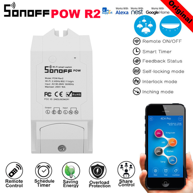 Sonoff Pow R2 16A Power Energy Meter Monitor Wireless WiFi Switch with Timing Sharing Function Remote Control Smart Homekit