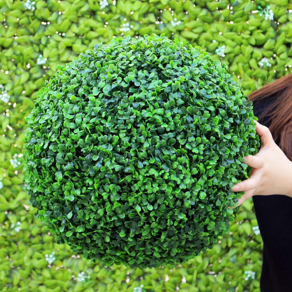 ULAND 48CM Decorative Artificial Grass Ball Plastic Leaf Effect Hanging Green Grass Ball Decoration Artificial Topiary Ball 2