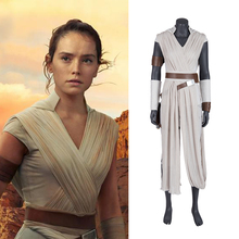 Rey Cosplay Costume Star Wars 9 The Rise of Skywalker Halloween  Adult Superhero Jedi Outfit Boots Women Dress