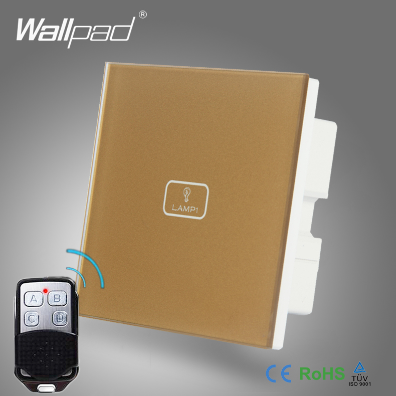 BS CE Approved Wallpad Gold Temepred Glass Switch Remote 1 Gang Wireless Electric Touch Screen Sensor Smart Home Switch Panel smart home us black 1 gang touch switch screen wireless remote control wall light touch switch control with crystal glass panel