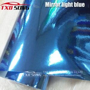 Image 1 - 50CM*1M/2M/3M/4M/5M Roll Car styling High stretchable Light blue Chrome Mirror Vinyl Wrap Sheet Roll Film Car Sticker Car Body