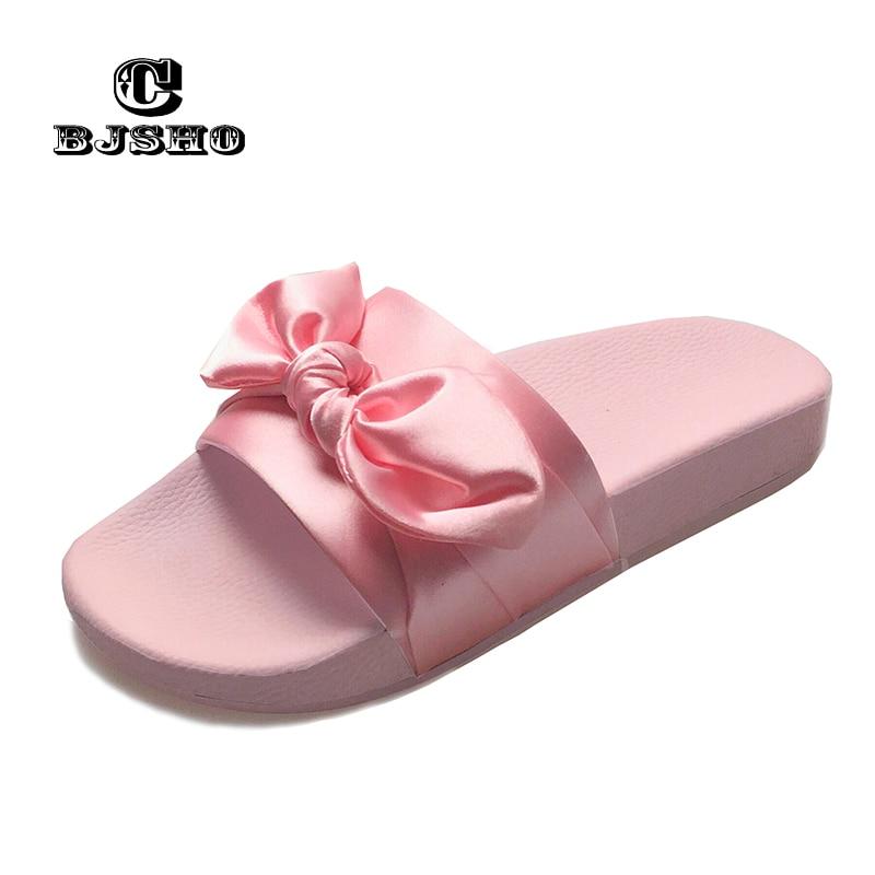 CBJSHO Dulce Bowtie Zapatillas de Verano Mujer Inicio Nuevo Slip On Flat Heel Flip Flop Señoras Sandalias Mujer Plataforma Zapatos de mujer