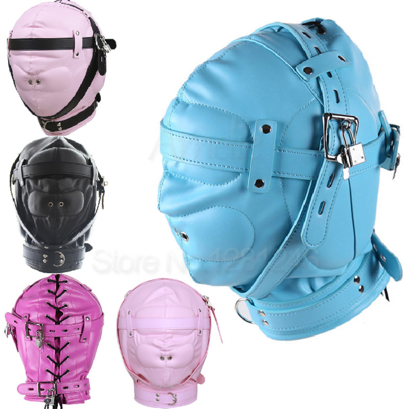 Superior PU Leather Fetish SM Hood Headgear With Mouth Ball Gag BDSM Bondage Sex Mask Hood Toys Adult Games Sex Toys For Couples