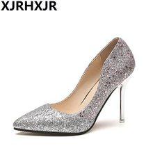 e1af0e040 XJRHXJR 2018 New Bling Sapatos de Salto Alto Mulheres Bombas dedo Apontado  Casamento Sapatos de Cristal Mulher 10 cm Salto Slive.