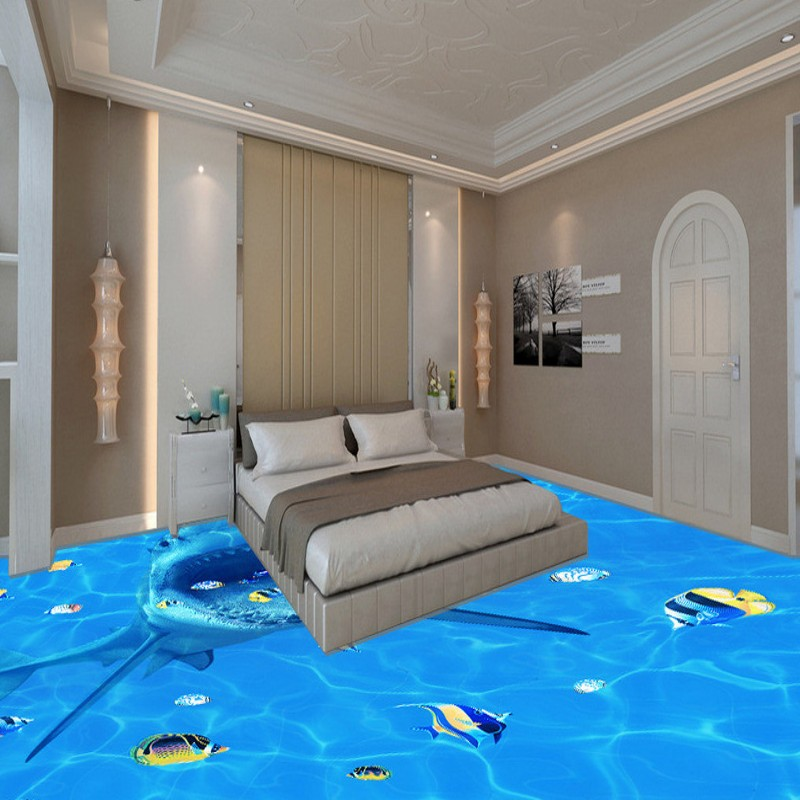 Free Shipping Big eat small fish wallpaper living room bathroom kitchen self-adhesive floor mural free shipping 3d living room dining room kitchen bathroom foyer waterproof self adhesive fish flooring wallpaper mural fh 023