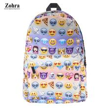 100% Brand New Backpack Emoji QQ Emoticon Pattern Travel 3D Printing Fashion School Bag