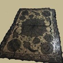 Grisly Spinnennetz für Halloween Dekoration Schwarz Polyester Halloween Tischdecke Tischdecke Festliche Partei Liefert 60 * 80in