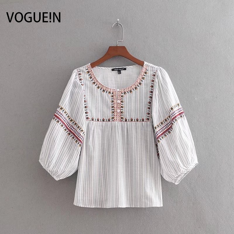 VOGUEIN New Womens Sweet Embroidery Casual O-Neck 3/4 Sleeve   Blouse     Shirt   Tops Wholesale