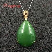 18 k oro giallo con 100% naturale giada ciondolo Spinaci è verde, semplice e facile Fine jewelry
