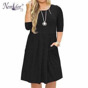 Image 5 - Nemidor 2019 Frauen Solide Oansatz Kurzarm Casual T shirt Kleid Plus Größe 7XL 8XL 9XL Midi Plissee Schaukel Kleid Mit taschen