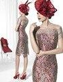 2017 Sexy Mujeres Vestidos Tallas grandes Madre Roja de la novia vestidos de madrina vestido de noche de encaje con mangas de la chaqueta kadisua 1627
